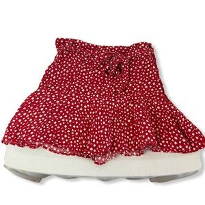 Zara Floral Skort Red White Flowers size Small